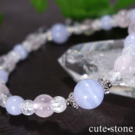 【Fancy girl】ブルーレース ローズクォーツ クラック水晶のブレスレットの写真1 cute stone