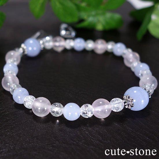 【Fancy girl】ブルーレース ローズクォーツ クラック水晶のブレスレットの写真2 cute stone