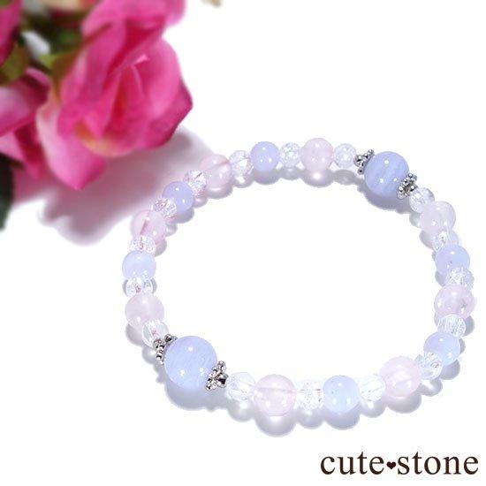 【Fancy girl】ブルーレース ローズクォーツ クラック水晶のブレスレットの写真3 cute stone