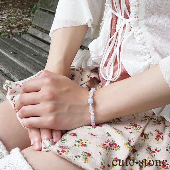 【Fancy girl】ブルーレース ローズクォーツ クラック水晶のブレスレットの写真5 cute stone