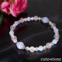 【Fancy girl】ブルーレース ローズクォーツ クラック水晶のブレスレットの画像