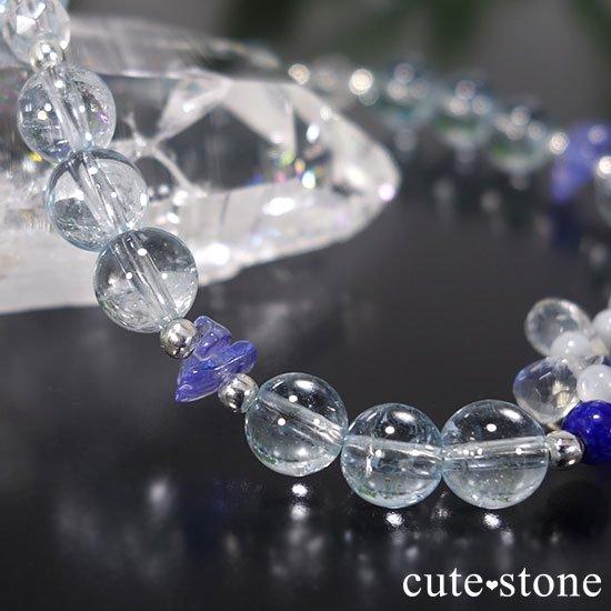 【氷の花】タンザナイト ブルートパーズ レインボームーンストーン ラピスラズリのブレスレットの写真1 cute stone
