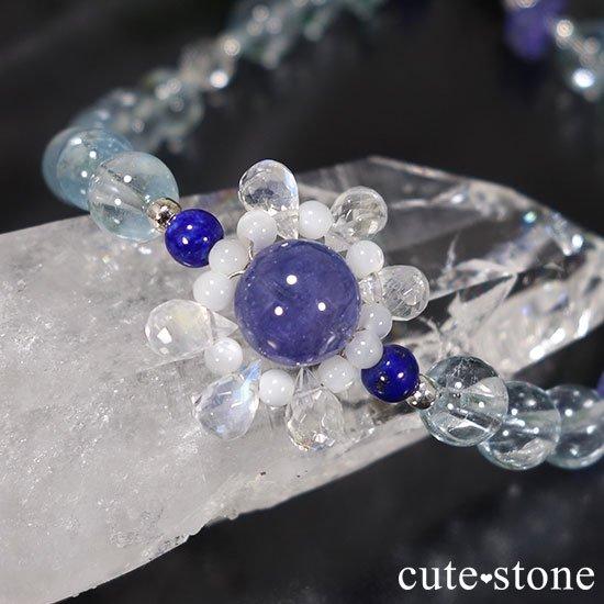 【氷の花】タンザナイト ブルートパーズ レインボームーンストーン ラピスラズリのブレスレットの写真3 cute stone