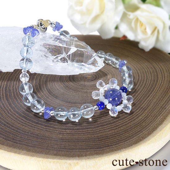 【氷の花】タンザナイト ブルートパーズ レインボームーンストーン ラピスラズリのブレスレットの写真5 cute stone