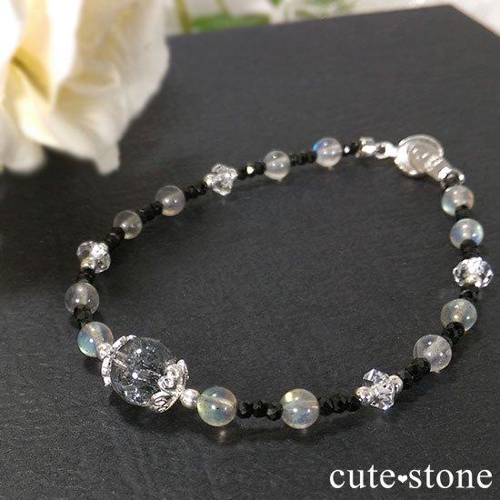 【煌めきの王】スティブナイトインクォーツ ラブラドライト ブラックスピネル 水晶のブレスレットの写真2 cute stone