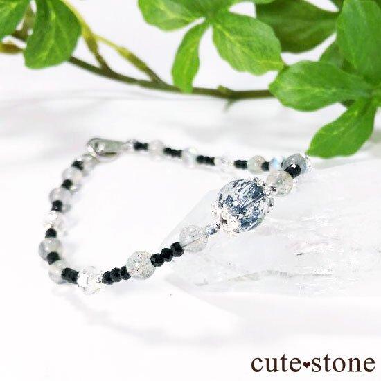 【煌めきの王】スティブナイトインクォーツ ラブラドライト ブラックスピネル 水晶のブレスレットの写真4 cute stone