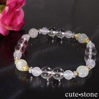 【Pure White】ホワイトムーンストーン 水晶 ホワイトカルセドニーのブレスレットの画像
