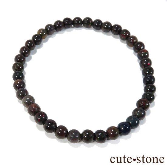 エチオピア産プレシャスオパール(ブラックカラー) AA++ ラウンド5mm シンプルブレスレットの写真0 cute stone
