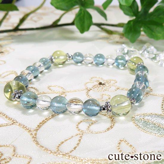 【星祭】レモンクォーツ ブルーフローライト 水晶のブレスレットの写真3 cute stone