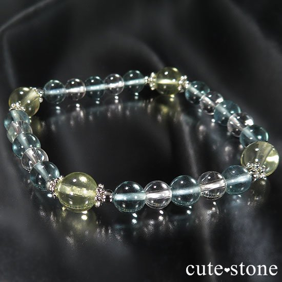 【星祭】レモンクォーツ ブルーフローライト 水晶のブレスレットの写真5 cute stone