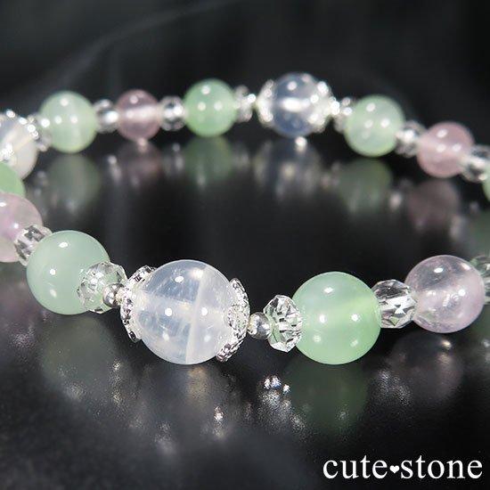 【月の花束】K2ムーンクォーツ グリーンカルサイト ローズクォーツのブレスレットの写真0 cute stone