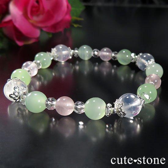 【月の花束】K2ムーンクォーツ グリーンカルサイト ローズクォーツのブレスレットの写真1 cute stone