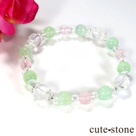 【月の花束】K2ムーンクォーツ グリーンカルサイト ローズクォーツのブレスレットの写真2 cute stone