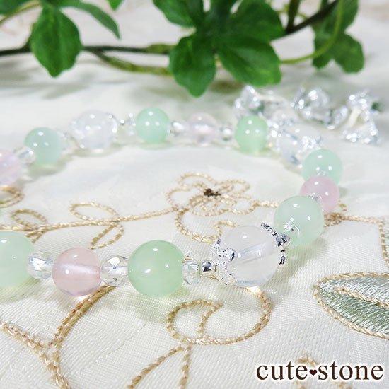 【月の花束】K2ムーンクォーツ グリーンカルサイト ローズクォーツのブレスレットの写真3 cute stone