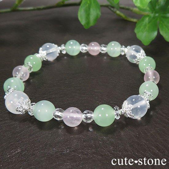 【月の花束】K2ムーンクォーツ グリーンカルサイト ローズクォーツのブレスレットの写真4 cute stone