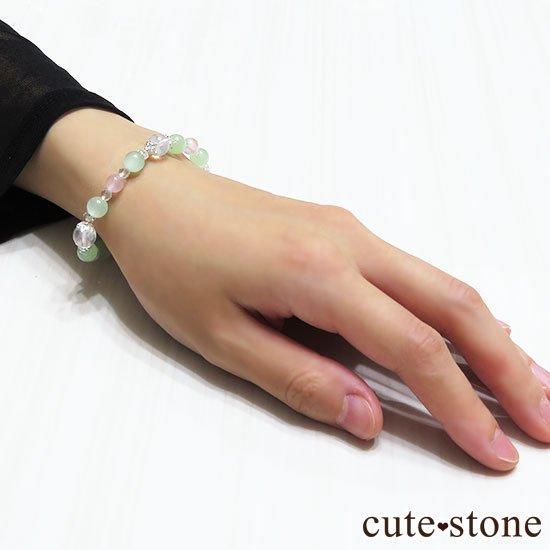 【月の花束】K2ムーンクォーツ グリーンカルサイト ローズクォーツのブレスレットの写真6 cute stone