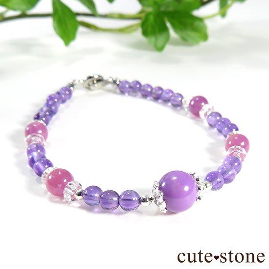 【Elegant bouquet】フォスフォシデライト ピンクサファイア アメジストのブレスレットの写真0 cute stone