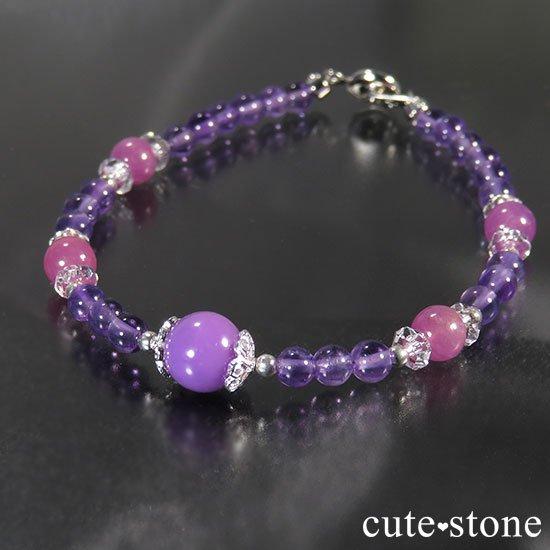【Elegant bouquet】フォスフォシデライト ピンクサファイア アメジストのブレスレットの写真4 cute stone