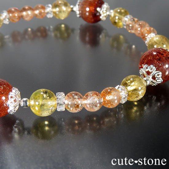 【CORONA】ファイアークォーツ インペリアルトパーズ サンストーンのブレスレットの写真1 cute stone