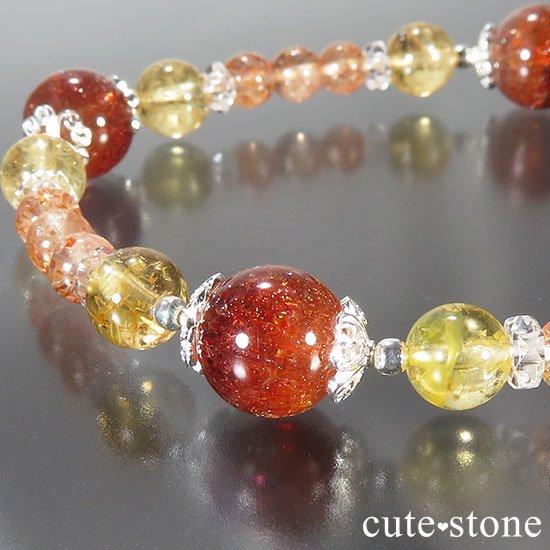 【CORONA】ファイアークォーツ インペリアルトパーズ サンストーンのブレスレットの写真2 cute stone