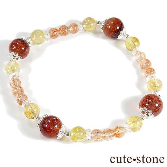 【CORONA】ファイアークォーツ インペリアルトパーズ サンストーンのブレスレットの写真3 cute stone