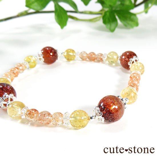 【CORONA】ファイアークォーツ インペリアルトパーズ サンストーンのブレスレットの写真4 cute stone