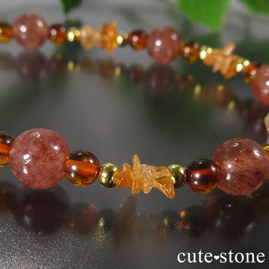 【太陽のかけら】オレゴンサンストーン アンバー スぺサルティンガーネット モスコバイトのブレスレットの写真3 cute stone
