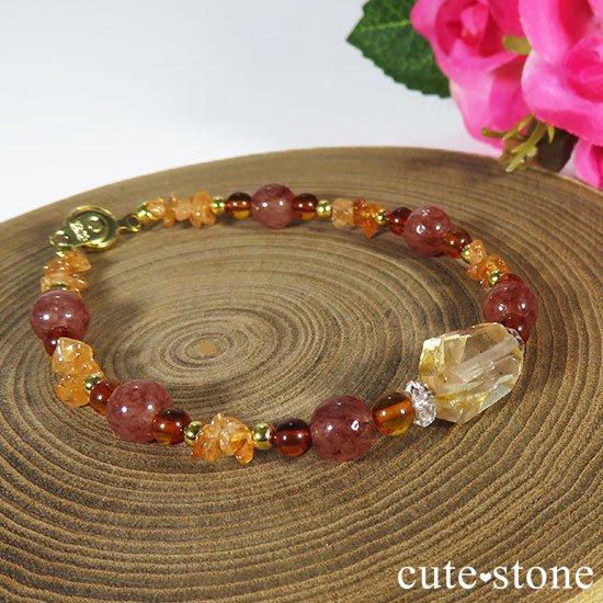 【太陽のかけら】オレゴンサンストーン アンバー スぺサルティンガーネット モスコバイトのブレスレットの写真4 cute stone