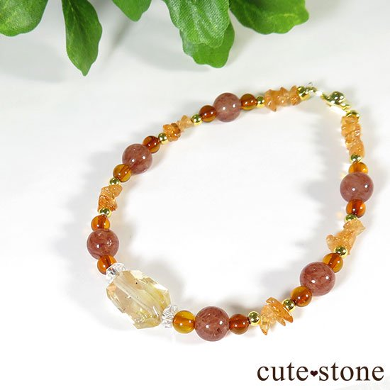 【太陽のかけら】オレゴンサンストーン アンバー スぺサルティンガーネット モスコバイトのブレスレットの写真5 cute stone