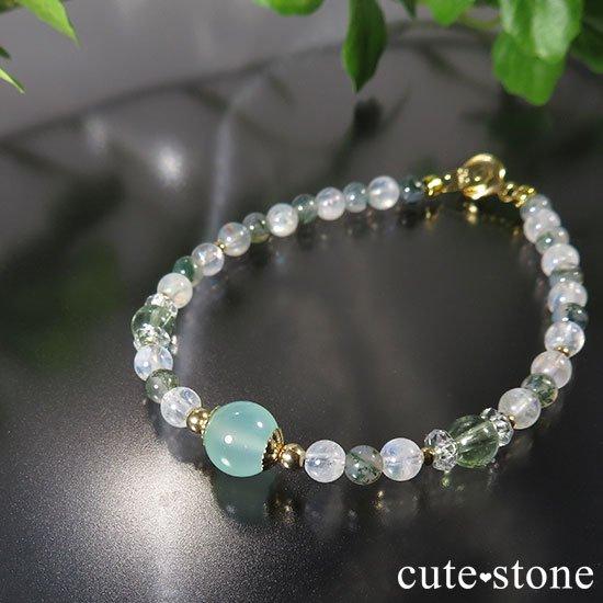 【Ange vert】クリソプレーズ グリーントルマリン レインボームーンストーン モスアゲートのブレスレットの写真0 cute stone