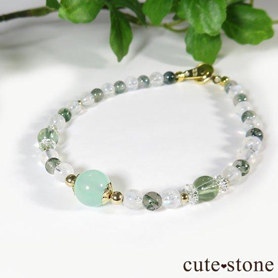 【Ange vert】クリソプレーズ グリーントルマリン レインボームーンストーン モスアゲートのブレスレットの写真3 cute stone