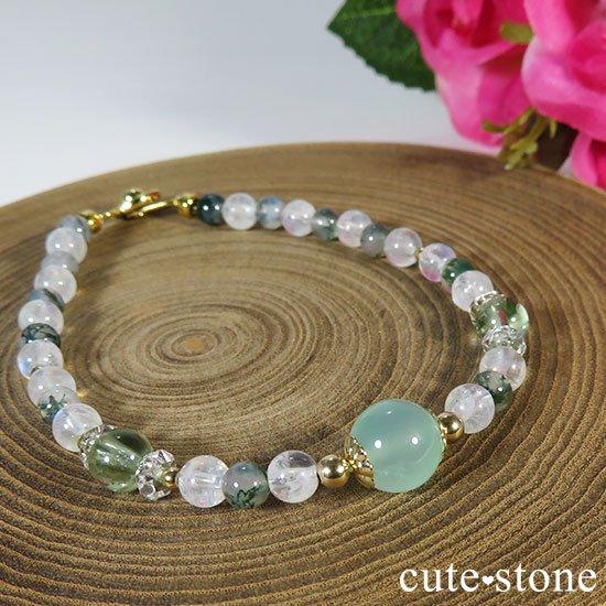 【Ange vert】クリソプレーズ グリーントルマリン レインボームーンストーン モスアゲートのブレスレットの写真4 cute stone