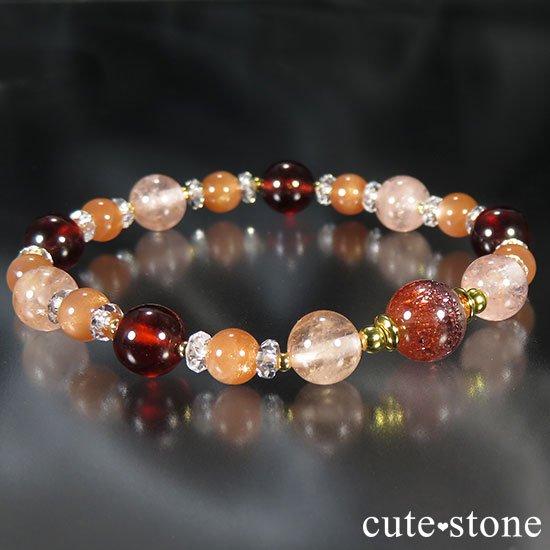 【煌めきの秋】ファイアークォーツ モルガナイト ヘソナイト オレンジムーンストーンのブレスレットの写真0 cute stone