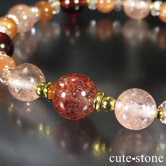 【煌めきの秋】ファイアークォーツ モルガナイト ヘソナイト オレンジムーンストーンのブレスレットの写真1 cute stone