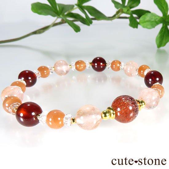 【煌めきの秋】ファイアークォーツ モルガナイト ヘソナイト オレンジムーンストーンのブレスレットの写真4 cute stone