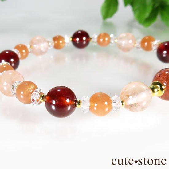 【煌めきの秋】ファイアークォーツ モルガナイト ヘソナイト オレンジムーンストーンのブレスレットの写真5 cute stone