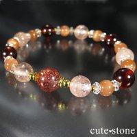 【煌めきの秋】ファイアークォーツ モルガナイト ヘソナイト オレンジムーンストーンのブレスレットの画像