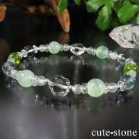 【POP STAR】水晶 グリーンカルサイト ペリドット ブルーフローライト ホワイトムーンストーンのブレスレットの画像