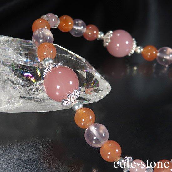 【恋色の魔法】グァバクォーツ アプリコットアゲート スターローズクォーツのブレスレットの写真3 cute stone