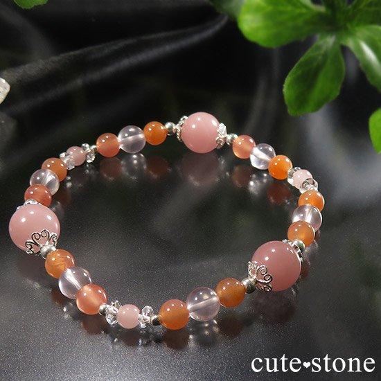 【恋色の魔法】グァバクォーツ アプリコットアゲート スターローズクォーツのブレスレットの写真6 cute stone