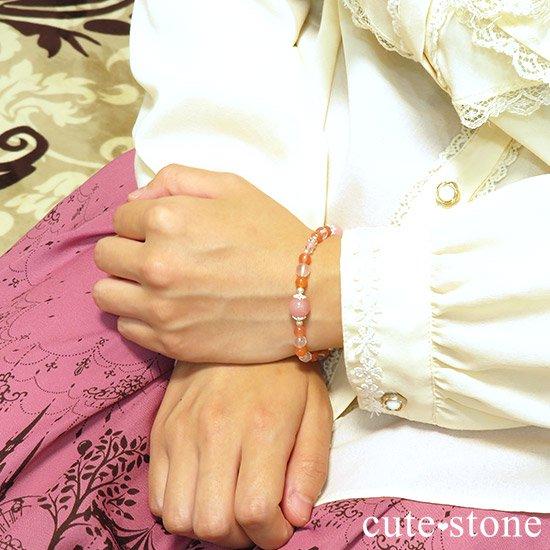 【恋色の魔法】グァバクォーツ アプリコットアゲート スターローズクォーツのブレスレットの写真7 cute stone