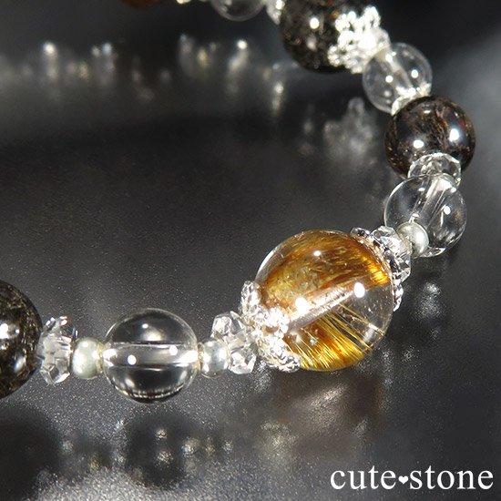 【Mix rutile festival】ゴールドルチル プラチナクォーツ ブラックルチル ブラウンルチル オレンジゴールドルチルのブレスレットの写真3 cute stone