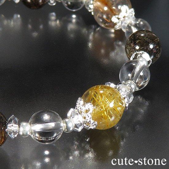【Mix rutile festival】ゴールドルチル プラチナクォーツ ブラックルチル ブラウンルチル オレンジゴールドルチルのブレスレットの写真5 cute stone