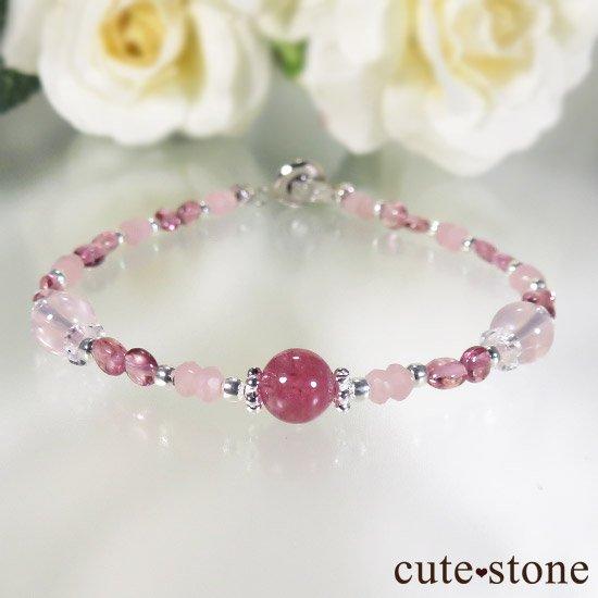 【MAX lovely】ピンクトルマリン スターローズクォーツ グァバクォーツのブレスレットの写真3 cute stone