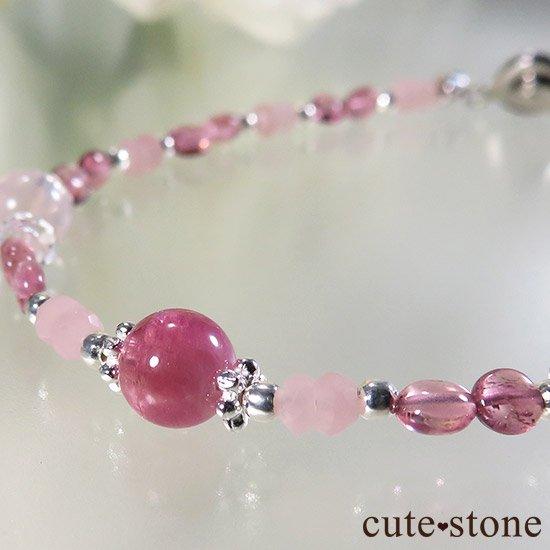 【MAX lovely】ピンクトルマリン スターローズクォーツ グァバクォーツのブレスレットの写真5 cute stone