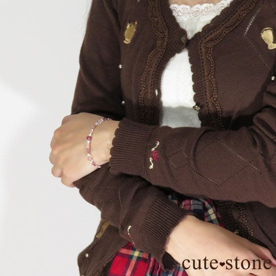 【MAX lovely】ピンクトルマリン スターローズクォーツ グァバクォーツのブレスレットの写真7 cute stone