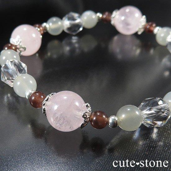 【淡色小町】モルガナイト グレームーンストーン レッドスキャポライトのブレスレットの写真0 cute stone