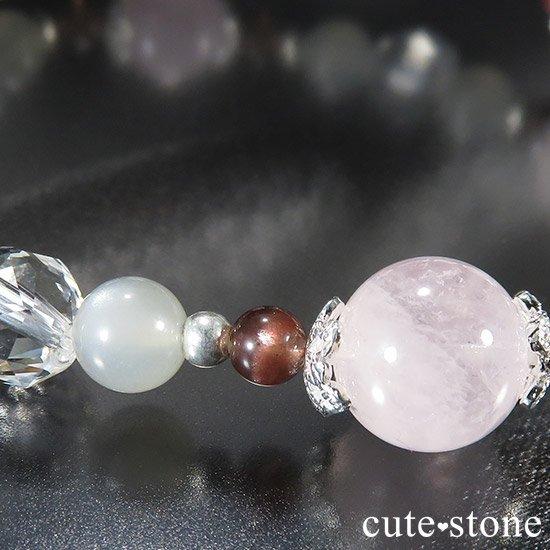 【淡色小町】モルガナイト グレームーンストーン レッドスキャポライトのブレスレットの写真2 cute stone