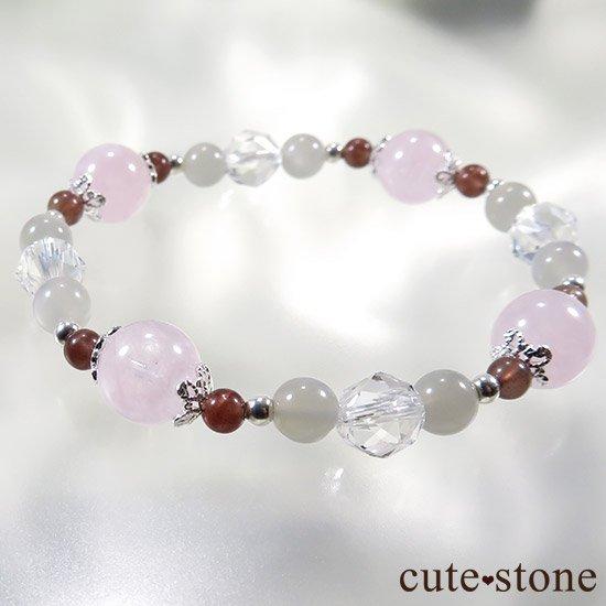 【淡色小町】モルガナイト グレームーンストーン レッドスキャポライトのブレスレットの写真4 cute stone