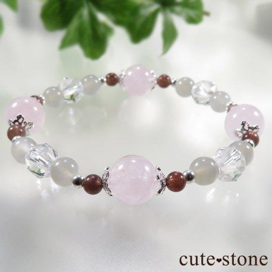 【淡色小町】モルガナイト グレームーンストーン レッドスキャポライトのブレスレットの写真5 cute stone